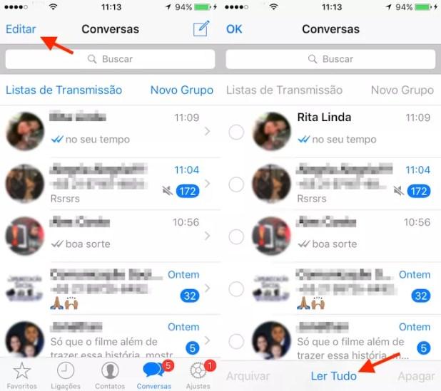 Opção para marcar todas as mensagens como lidas no WhatsApp para iPhone (Foto: Reprodução/Marvin Costa)