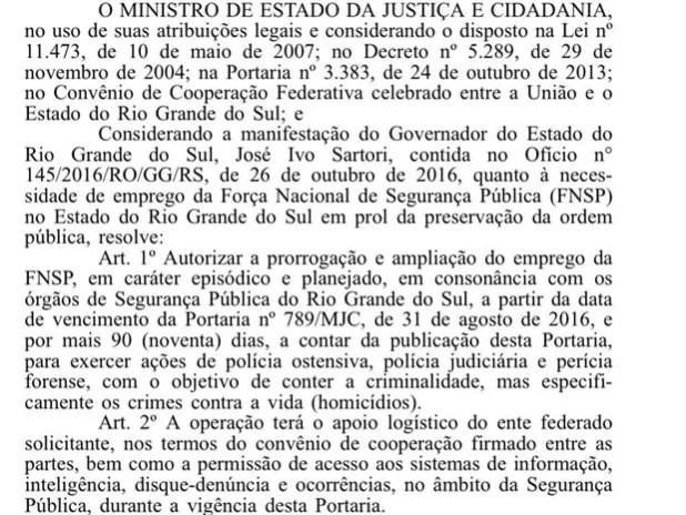 Portaria foi publicada na manhã desta quinta-feira no Diário Oficial da União (Foto: Reprodução/G1)