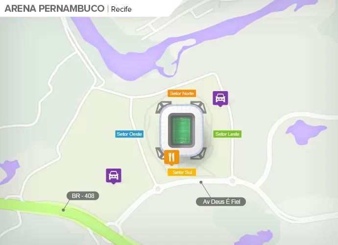 Mapa de acesso às ruas da Arena Pernambuco (Foto: Google Maps / Infografia GloboEsporte.com)