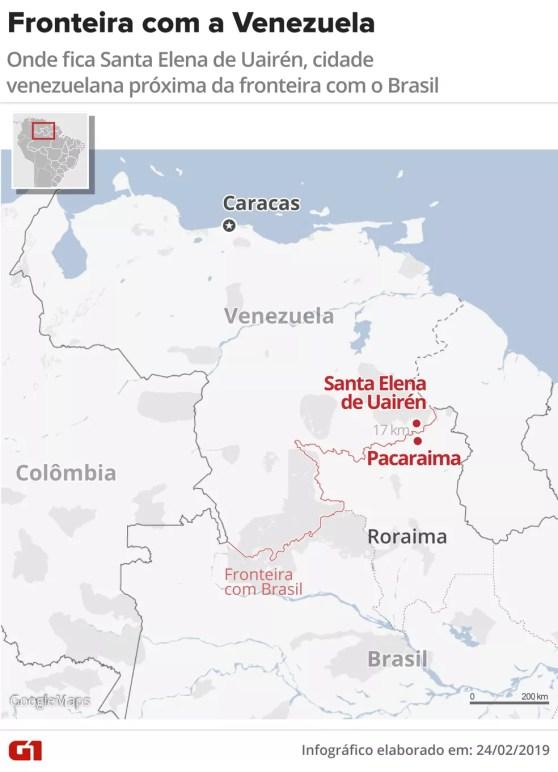 Santa Elena de Uairén fica a 17 km de fronteira com o Brasil — Foto: Roberta Jaworski/G1
