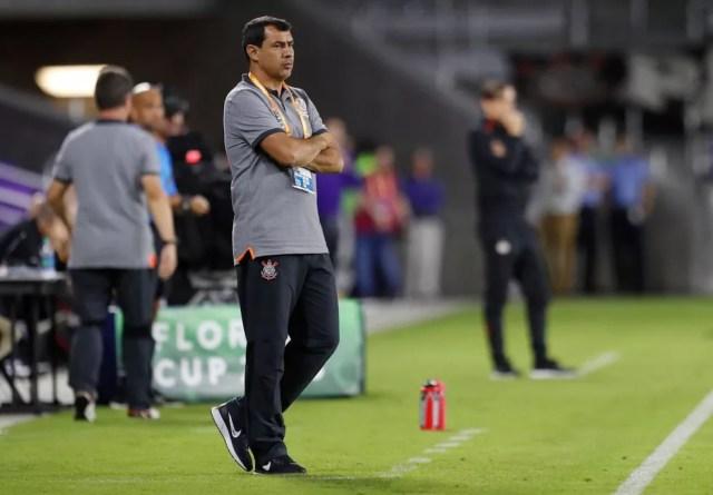 Fábio Carille, técnico do Corinthians, durante a partida contra o PSV (Foto: Rafael Ribeiro/Divulgação)