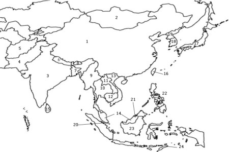 map of asia without country names