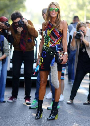 Blogger Anna Dello Russo wearing a yellow tinted clear heel at Milan fashion week