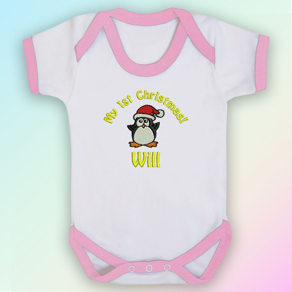 Calmly My Penguin Embroidered Baby Vest Gift Personalised My Svg Free My Infant Outfit baby My First Christmas