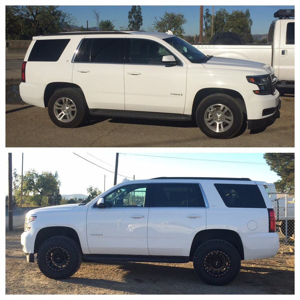 Before and after leveling kit  wheels and tires    Yelp Photo of Advanced Trucks   Morgan Hill  CA  United States  Before and after