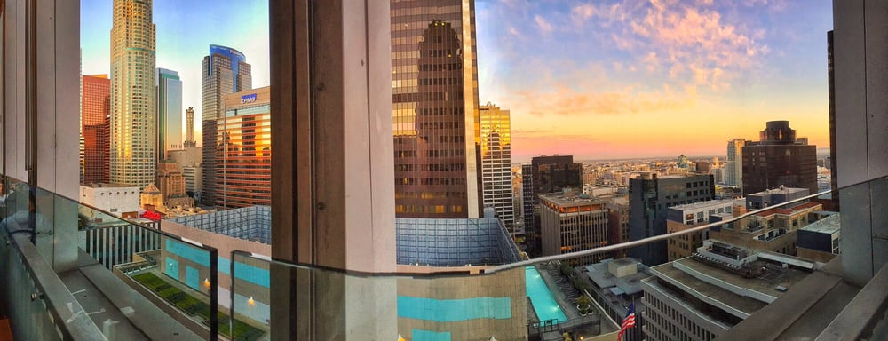 Takami Sushi & Robata Restaurant - Los Angeles, CA, United States. Sunset against the concrete, steel & glass jungle below...