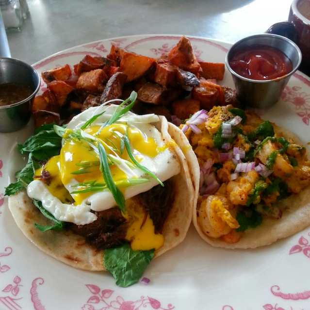Down House - Houston, TX, United States. Breakfast taco plate