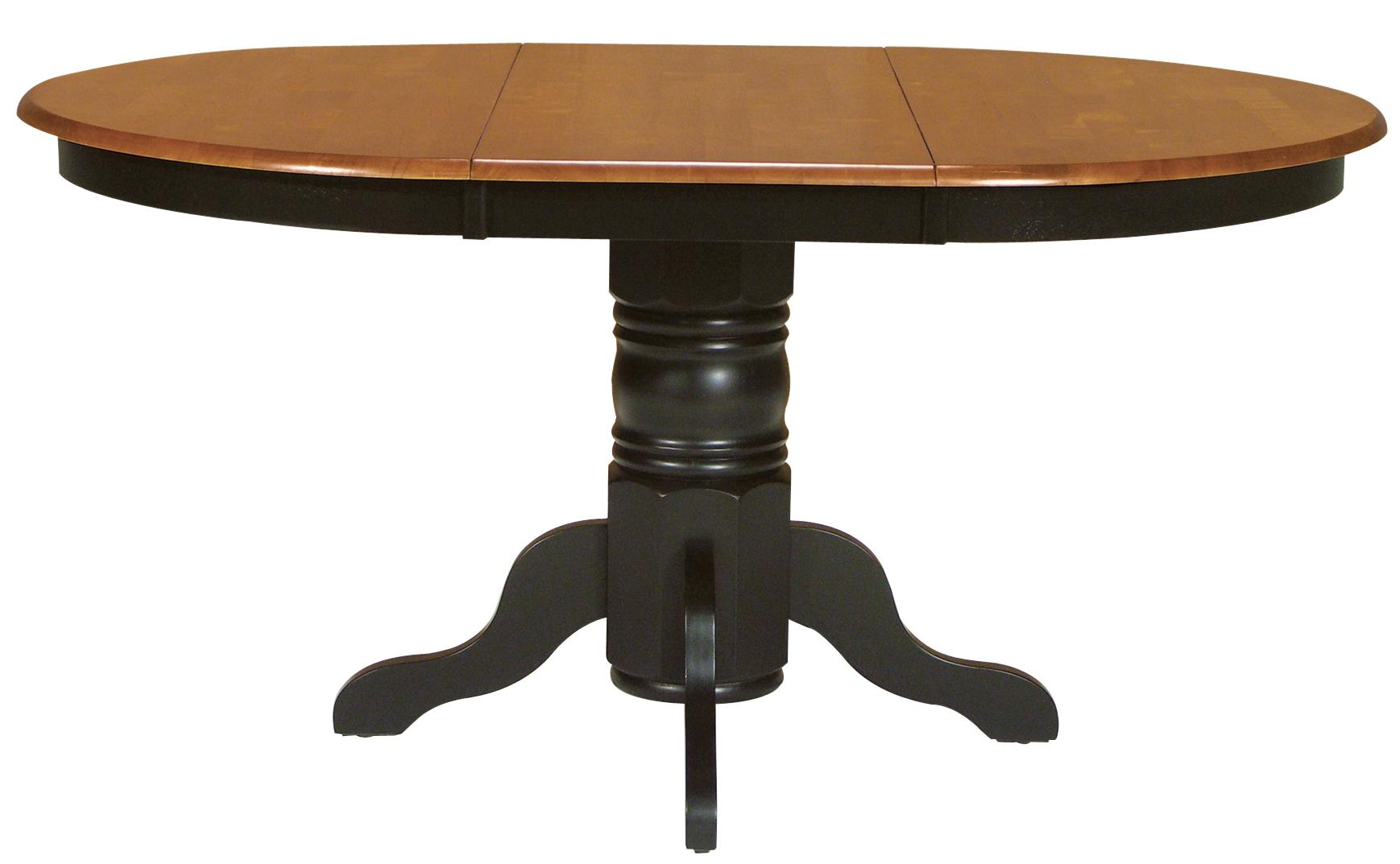 oval kitchen table Two Toned Oval Dining Table with Turned Pedestal Base