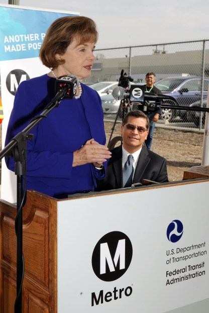 U.S. Senator Dianne Feinstein speaking at the media event Thursday.