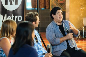 Panelists at Metro's Social Media event in late September at Union Station. From left: From left, Alissa Walker, Steven White and Gann Matsuda. Photo by Steve Hymon/Metro.