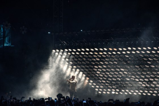 Kanye West performing at FYF Fest on Saturday night. (Photos by Bunrort EM/Metro)