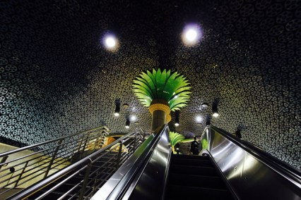 Film reel mosaic ceiling? Where else but Hollywood/Vine Red Line Station. Photo by Throgers via Flickr/CC.
