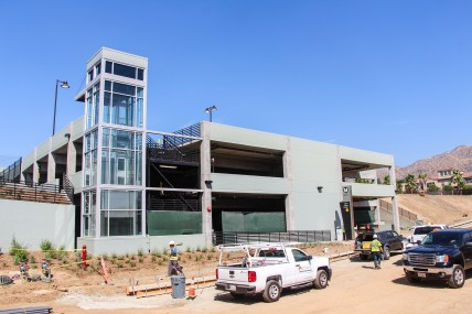 The parking garage at the Citrus College/APU Station.