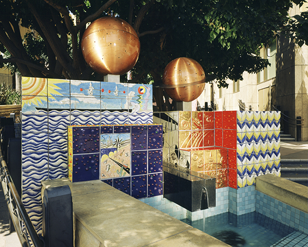 Paseo Cesar Chavez by Peter Shire. Located at the corner of Cesar Chavez and Vignes streets, each of three water fountains was designed to have a different sound; each is clad in colorful handmade tiles.