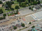Aerial view of the Pasadena train station prior to the Gold Line station at Del Mar and Raymond being built.