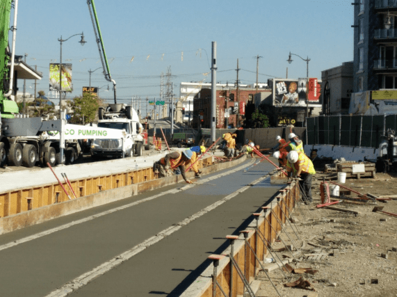 Pouring concrete for the shoofly track tie-in.