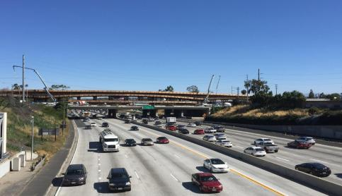 Good view of the bridge that will carry the tracks over the 405.