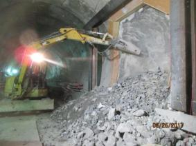 Excavation of a cross passage between the twin tunnels under Crenshaw Blvd.