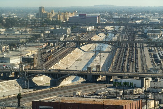 The view of the river through DTLA looking south. That's the 1st Street Bridge at bottom.