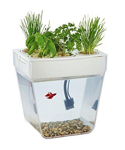 Self Cleaning Fish Tank Aquaponic Aquarium Garden w/ Seeds Grows Herbs