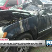 One hospitalized after car found submerged at Boca Chica Beach