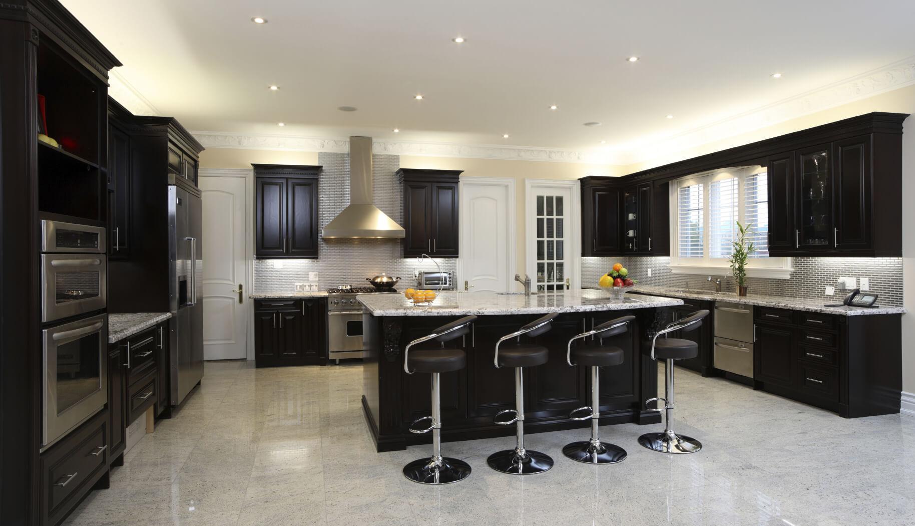 Splendiferous Breakfast Dinerstyle Stools 72 Black Cabinets Kitchen G Hardware Spacious Kitchen Kitchens Wood Or Black Kitchen Cabinets Black Cabinet Kitchen 18 Wide kitchen Black Cabinet Kitchens