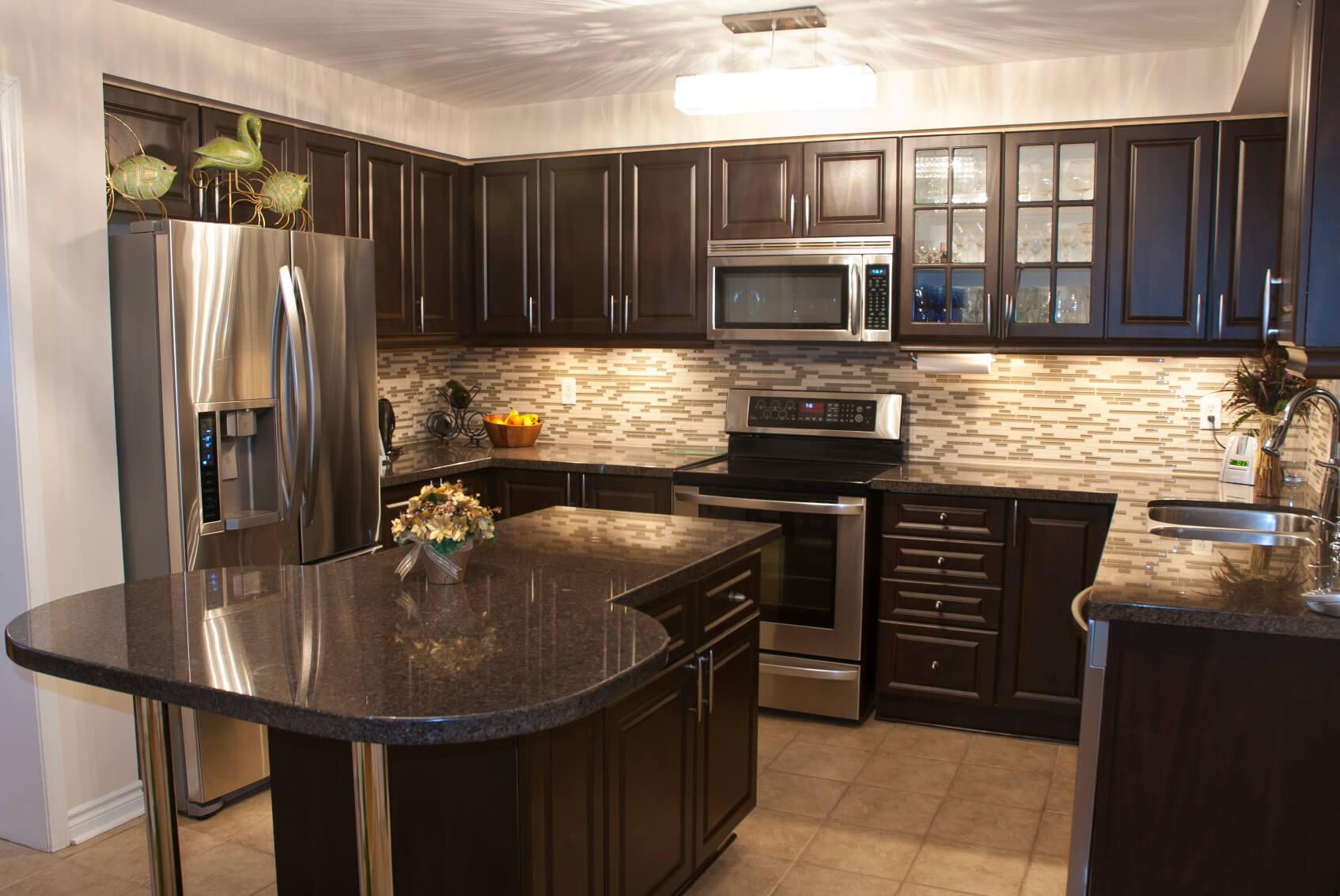 Indoor Wood Trim Blue Backsplash Kitchen Cabinets Wood Or Black Kitchen Cabinets Kitchen Cabinets Kitchen Is Stuffed Brushed Black Marble Kitchens houzz-03 Dark Kitchen Cabinets