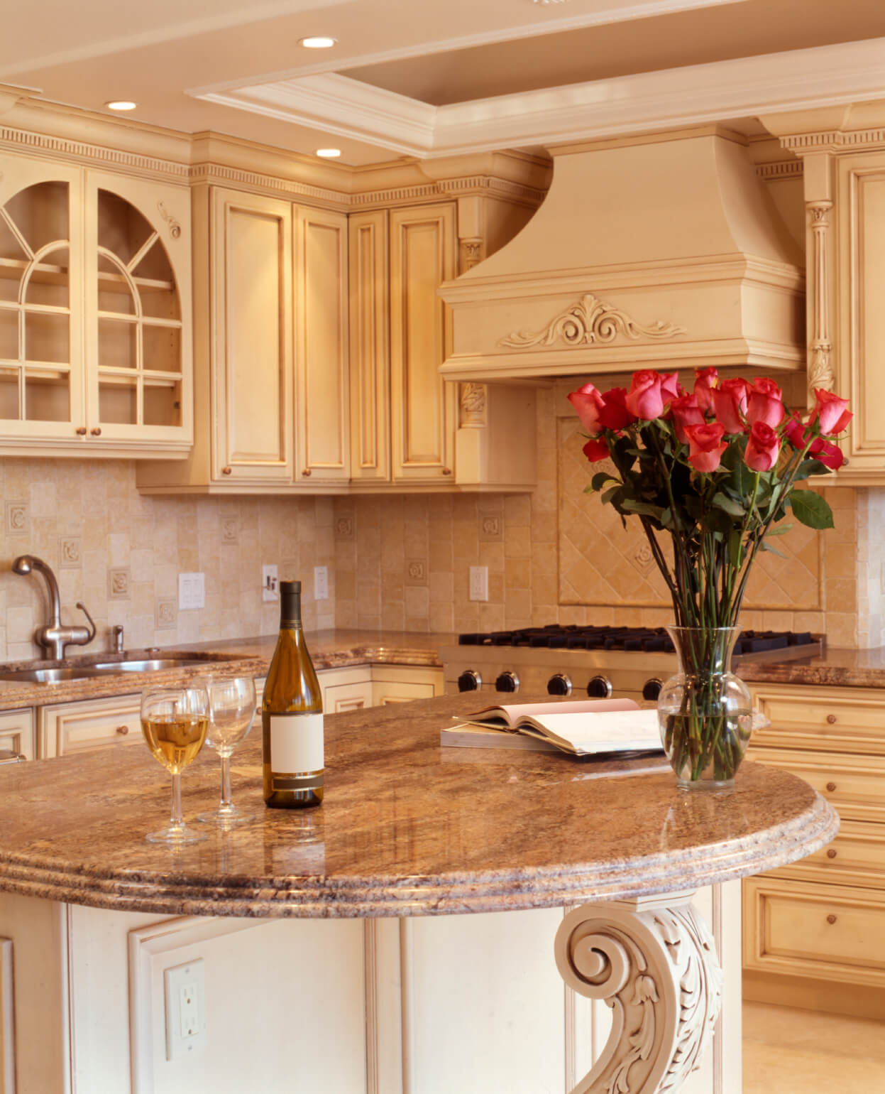 Exquisite Lush Beige Tones Throughout This Including Filigreed Wood Islandwith Rounded Marble Kitchen Island Ideas Kitchen Islands Seating Ideas kitchen Kitchen Islands With Seating Ideas