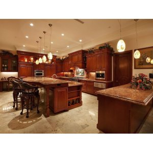 Comfy Rich Red Wood Over Beige Marble Ing Throughout This Island Kitchen Island Ideas Kitchen Island Different Color Than Cabinets Kitchen Island Different Color