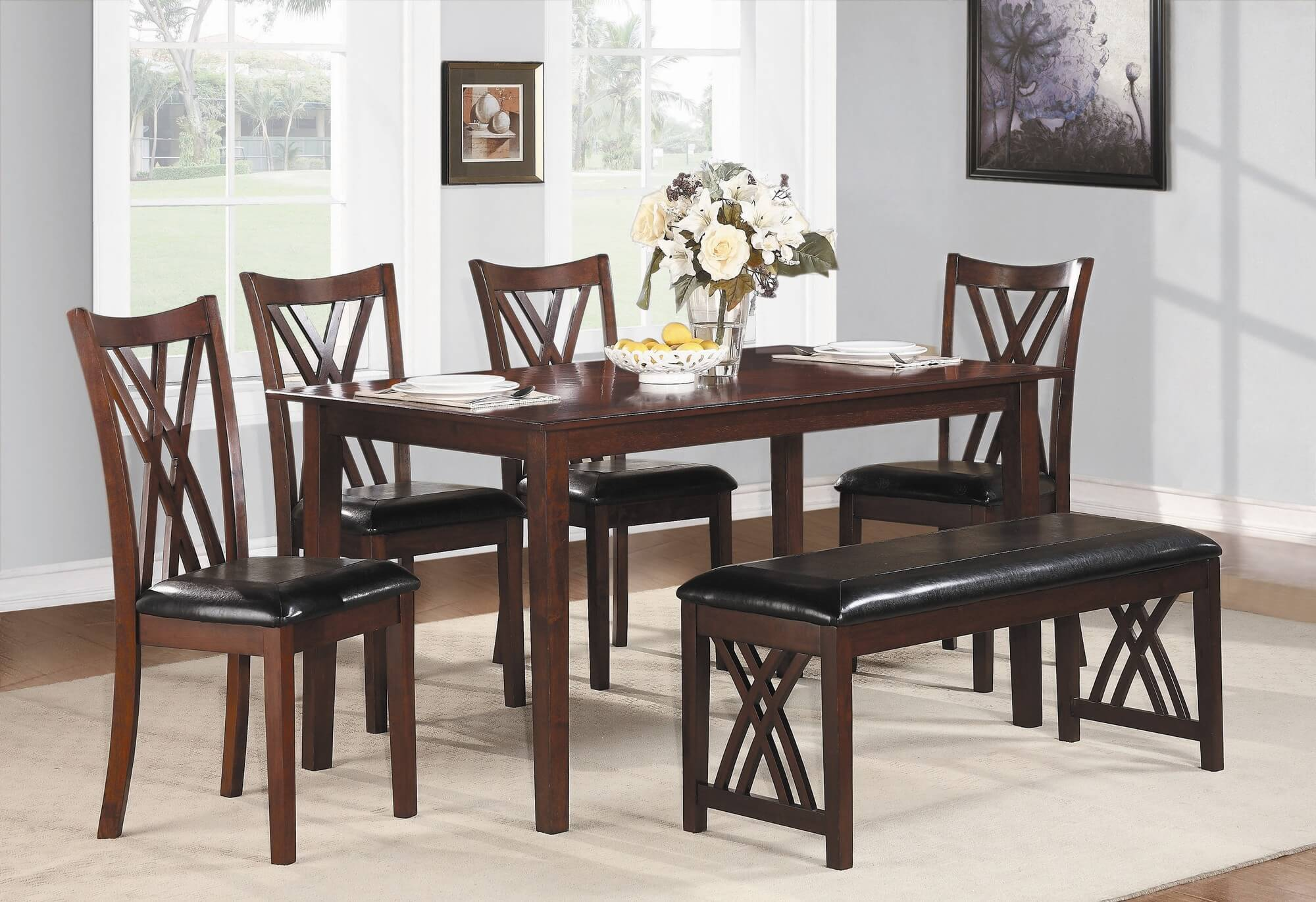 dining room sets bench seating kitchen table sets Six piece dining set with bench with a cherry finish and upholstered chairs and bench