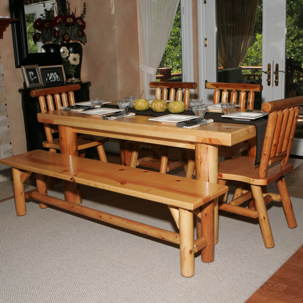 dining room sets bench seating bench for kitchen table Here s a dining table set with bench perfect for the log cabin or home Seating