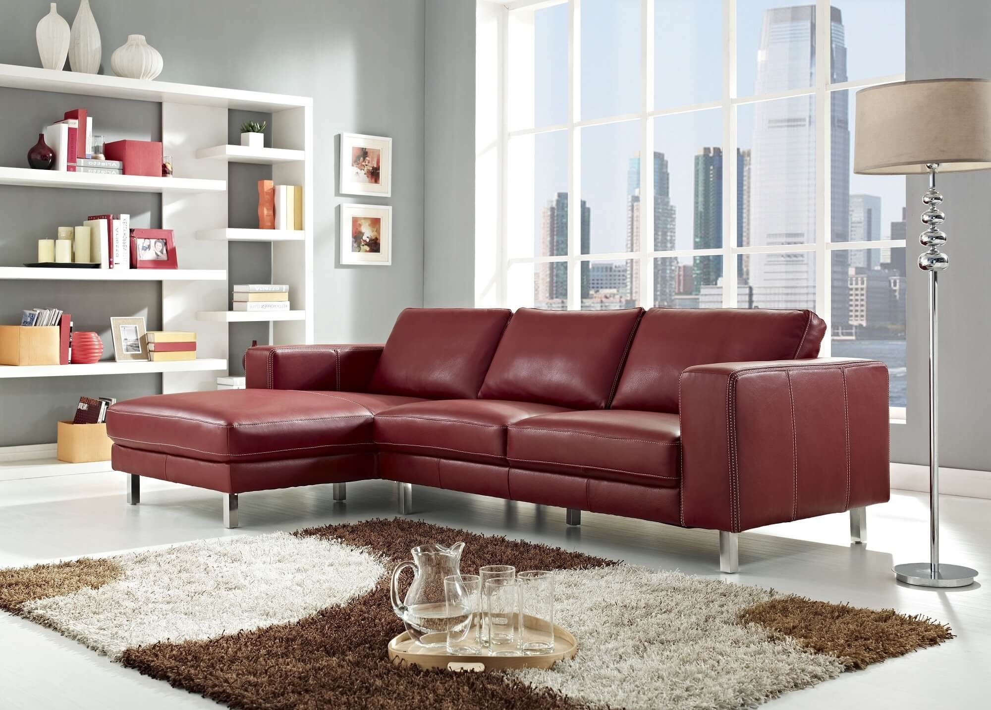 Supreme Chaise Lear Sofa Toronto This Red Lear Sofa Is Made A Solid Wood Chromedstainless Steel Red Sectional Sofas Lear Sofa houzz-02 Modern Leather Sofa