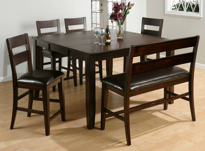 dining room sets bench seating small square kitchen table Here s a counter height square dining room table with bench Moreover the bench includes