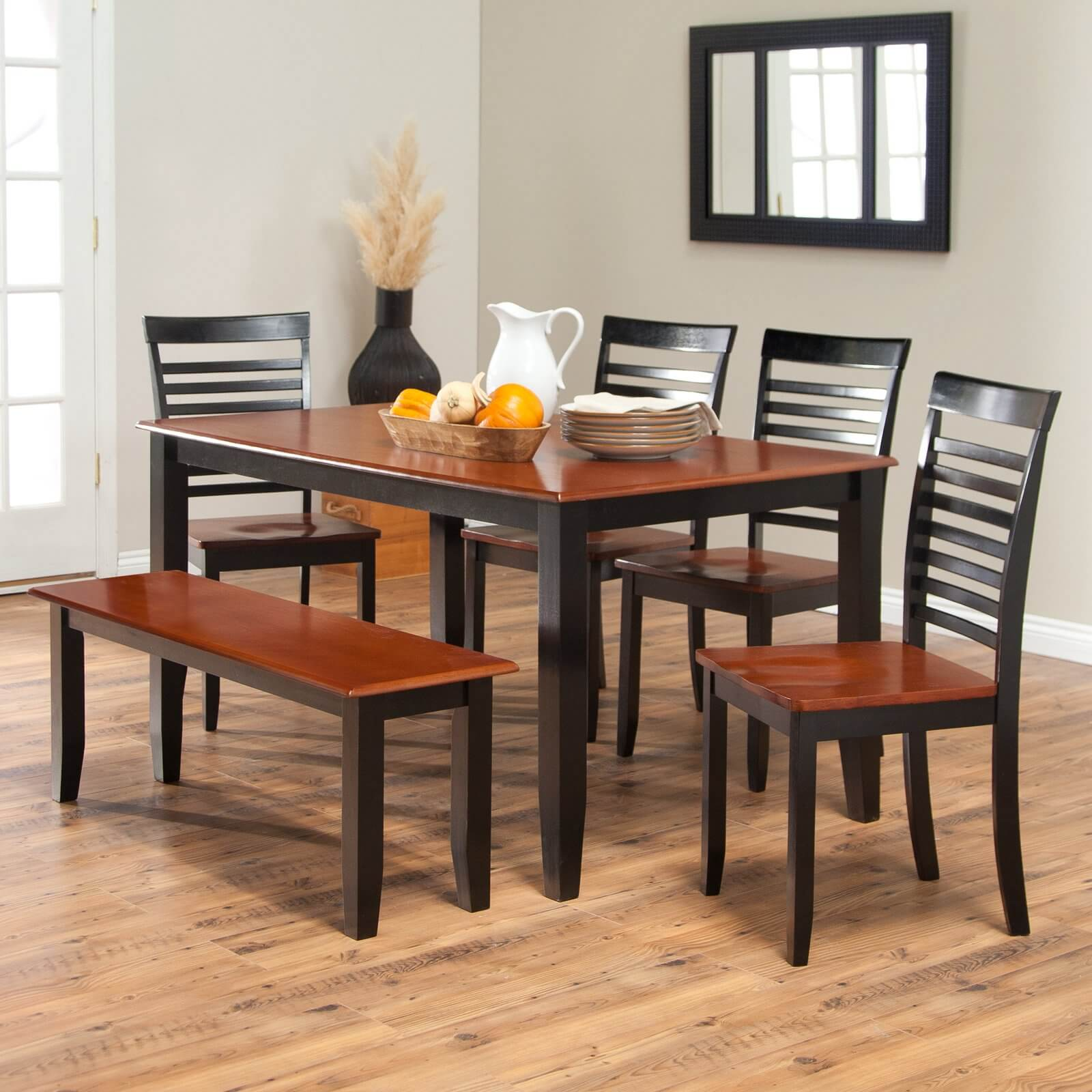 dining room sets bench seating kitchen tables sets Simple two toned dining set with bench The seats and table top are cherry