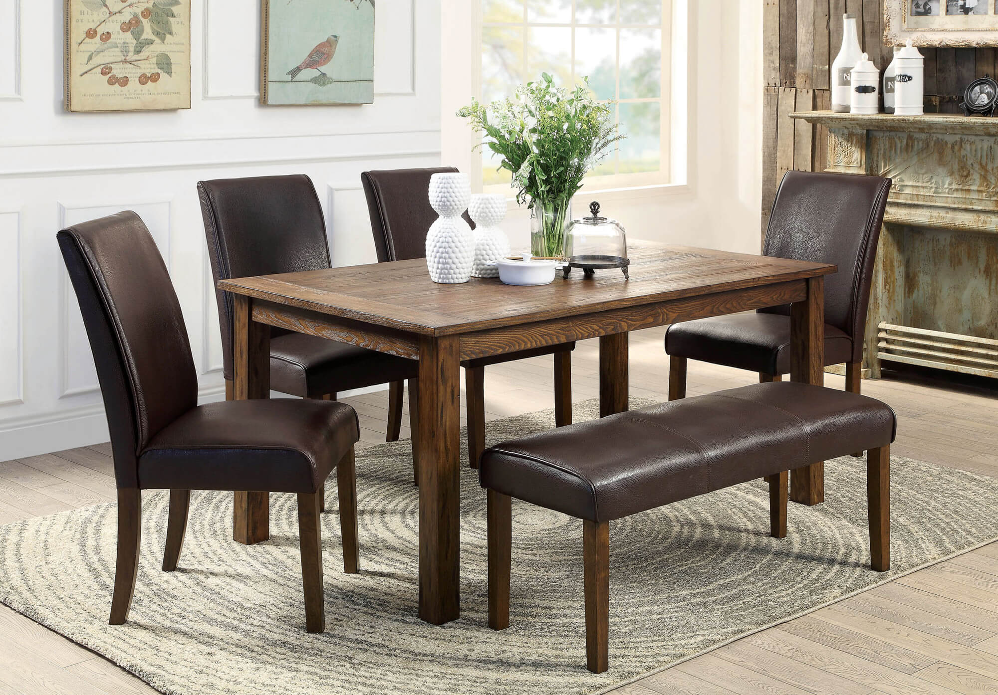 dining room sets bench seating small kitchen table Here s a rustic rectangle dining table with fully cushioned chairs and bench This look works