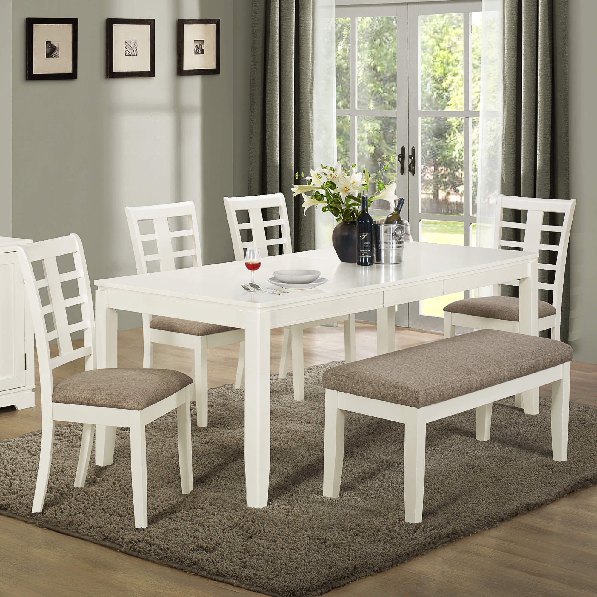 dining room sets bench seating gray kitchen table Built with solid wood and MDF board this white and grey dining set with bench