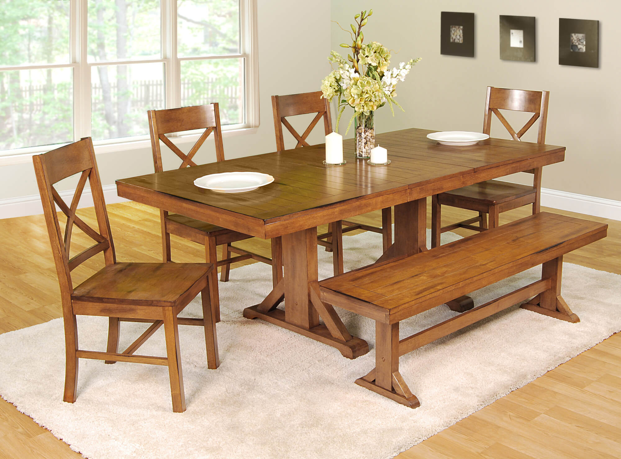 dining room sets bench seating wood kitchen table sets This dining room set with bench is going for the antique look with an antique brown