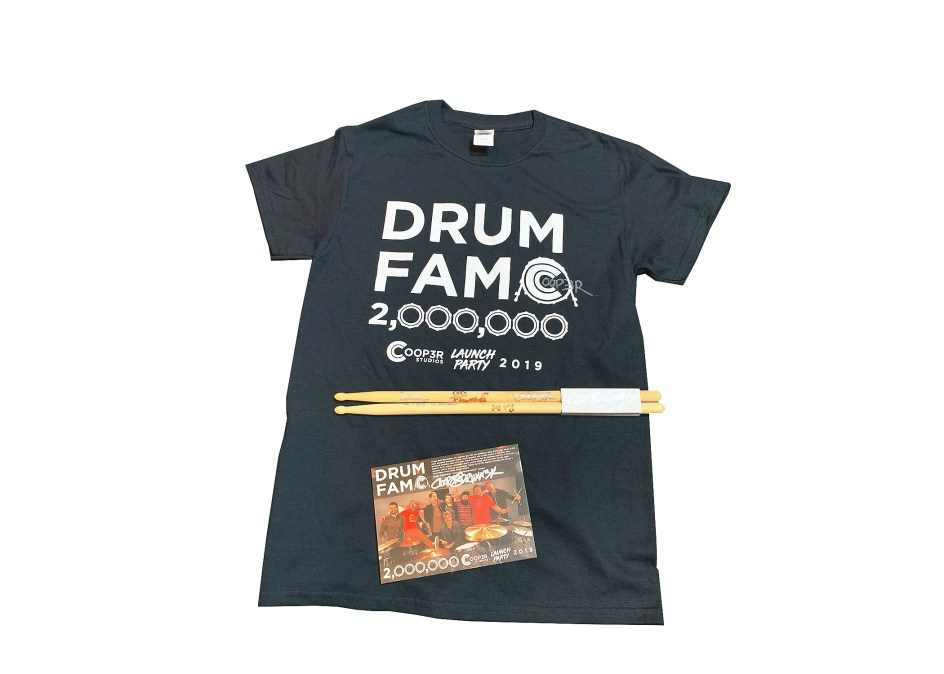 """Signed Sticks, """"Drum Fam"""" Shirt, & Card + Stickers (ONLY 28 LEFT) 021"""
