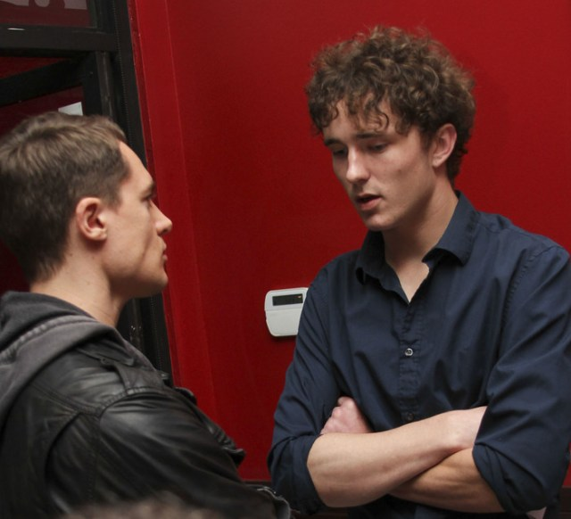 Alexander Dreymon speaking with Blake Sheldon at our Kickstarter party Photo by Michael Douglass