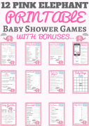 pink elephant baby shower games