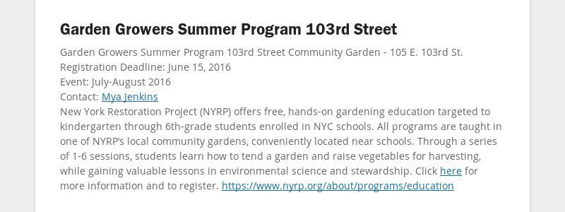 Garden Growers Summer Program 103rd Street Garden Growers Summer Program 103rd Street Community...