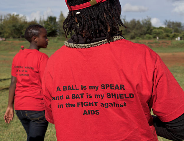 """The Maasai Cricket Warriors' unique AIDS Awareness slogan: """"A BALL is my SPEAR and a BAT is my SHIELD in the FIGHT against A I D S"""""""