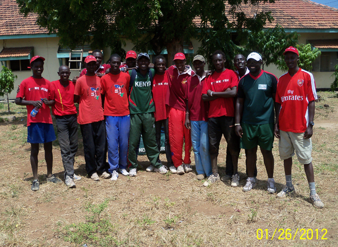 The Maasai Cricket Warriors with legends of Kenyan cricket, Thomas Odoyo and Jimmy Kamande
