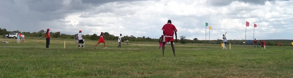 The Maasai Cricket Warriors up against the Rift Valley Cricket Club on the cricket field