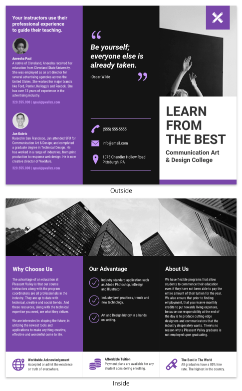 Brochure Templates   Venngage Simple College Tri Fold Brochure Infographic Template