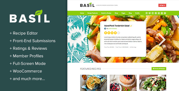 Download Basil Recipes - A Recipe-Powered WordPress Theme Recipe WordPress Themes