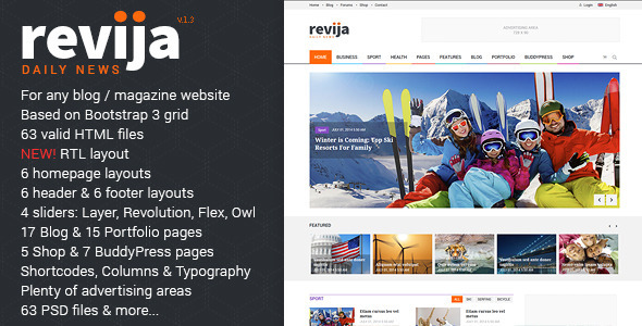 Download Revija - Premium Blog/Magazine HTML Template Portal Html Templates