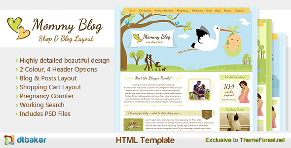 Download Mommy Blog HTML - Including Shop & Blog Layout  Cute Html Templates
