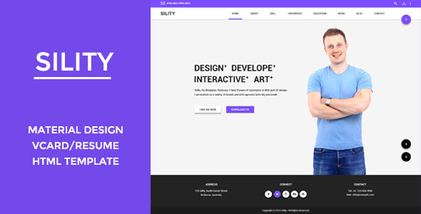Download Sility -  vCard, CV & Resume HTML Template Amp WordPress Themes