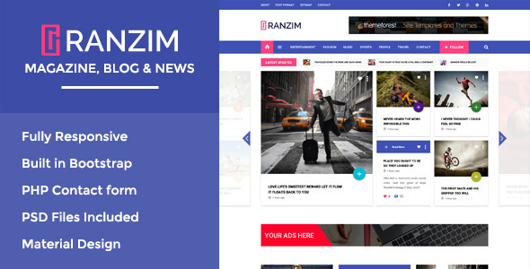 Download Ranzim - Magazine/News Responsive HTML Template News Html Templates